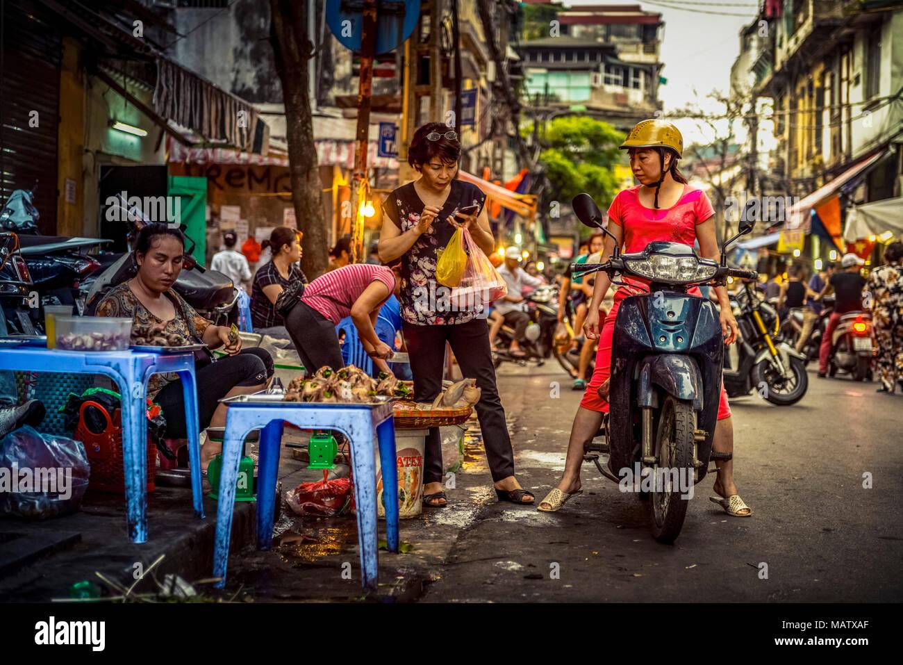Asien, Vietnam, Hanoi, Verkehr, Transport, Transportmittel, Markt Stockbild