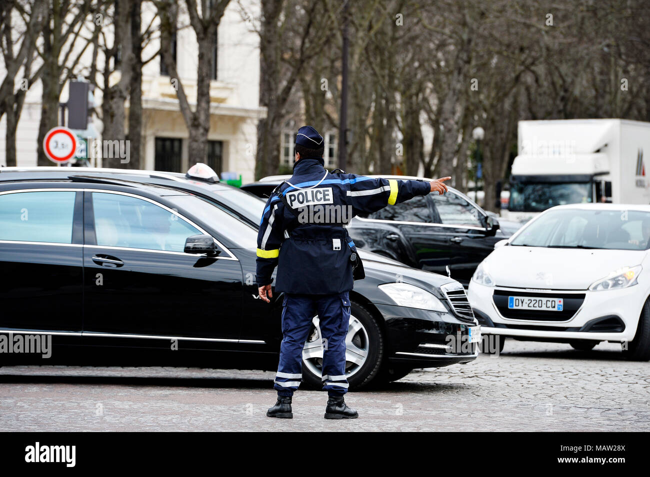 Polizei Verkehr régulation - Paris - Frankreich Stockbild