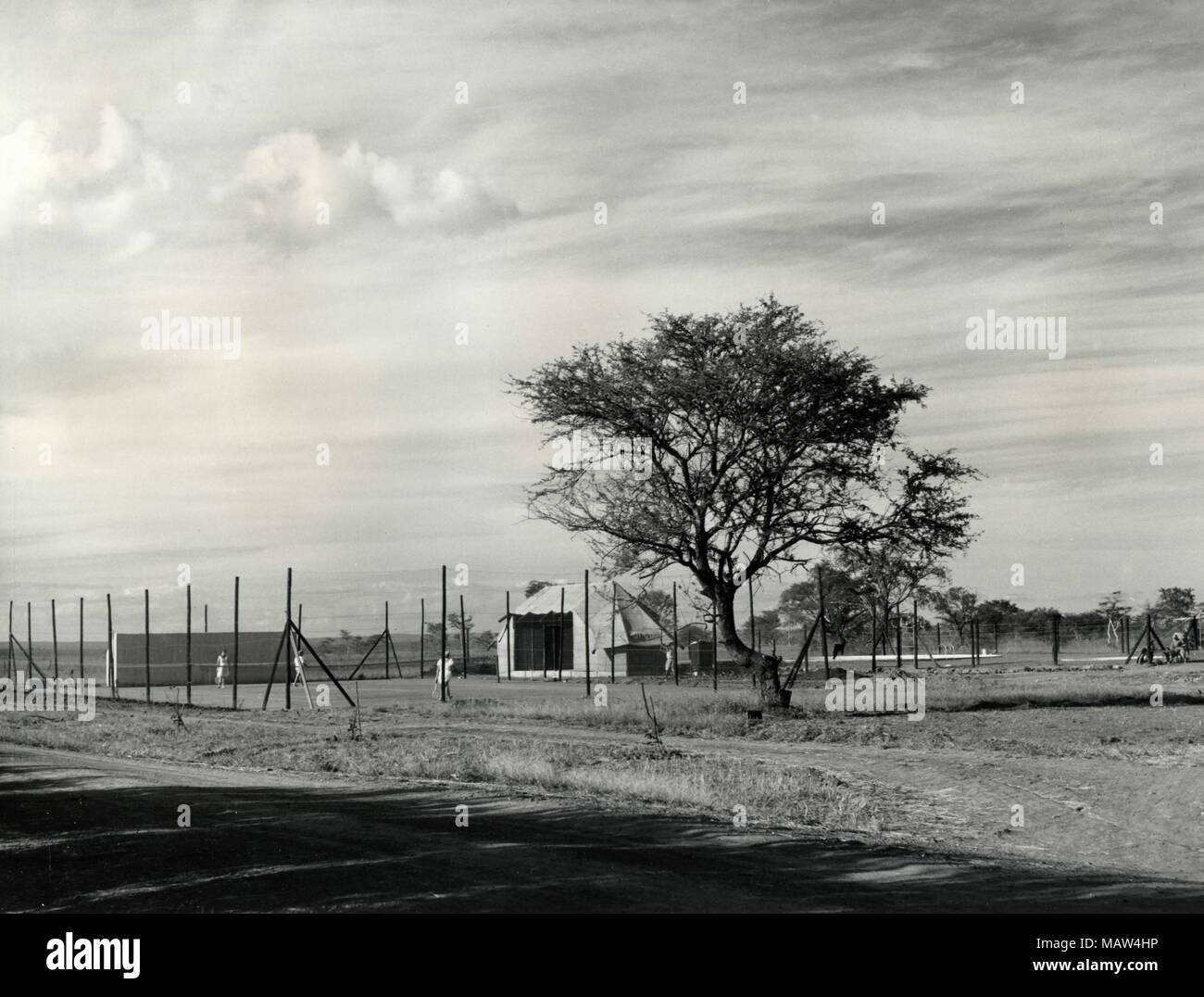Tennisplätze, Rhodesian Auswahl Vertrauen, Kafue Pilot Polder, Sambia, Süd Rhodesien 1957 Stockfoto