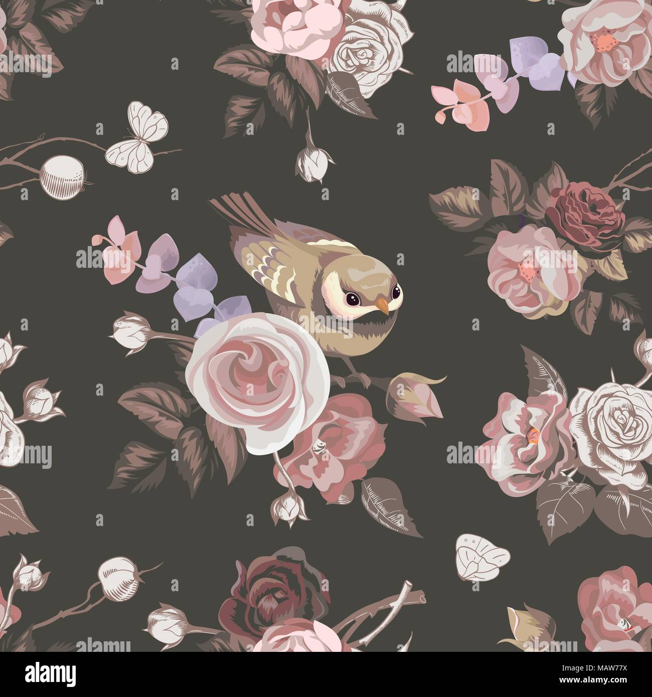 Florale Nahtlose Muster Mit Bunte Blumensträuße Rosen Und Niedlichen  Kleinen Vogel Auf Hintergrund. Vector Illustration Im Retro Stil Für Tapeten,  ...