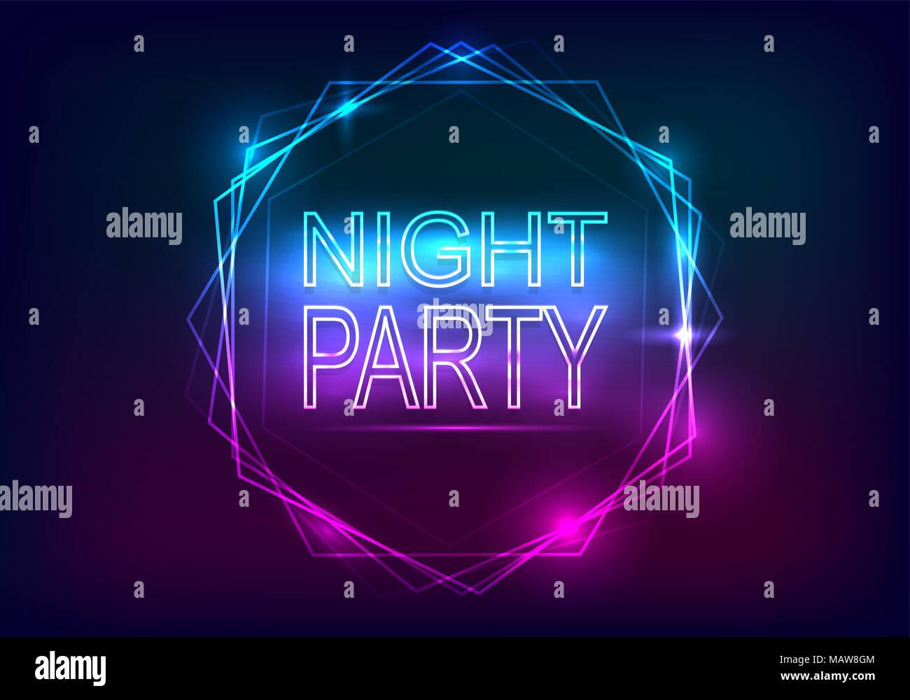 Nacht Party Werbung Vorlage. Neon Stil mit Lichtstrahlen und einen ...