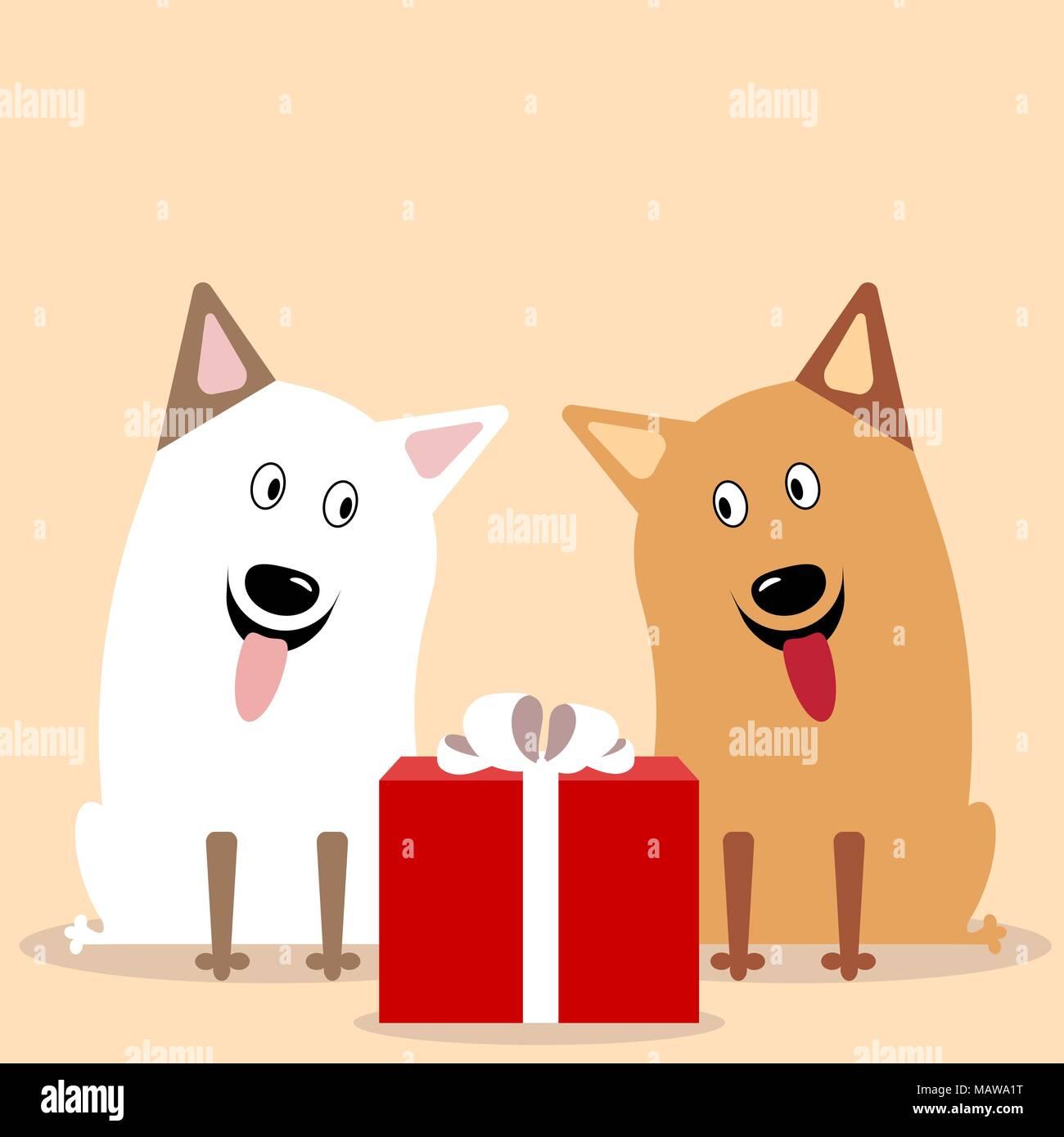 Tiere, die an einem Geschenk. Nette freundliche Karikatur Hunde ...