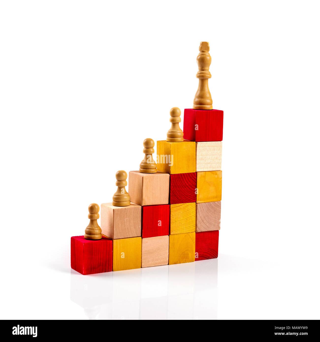 Karriereleiter Konzept. Schachfiguren auf Holzklötze Stockbild