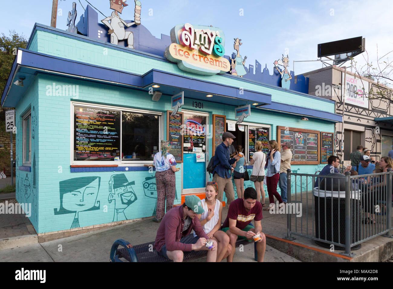 Amys Eisdiele, South Congress Avenue, in der Innenstadt von Austin, Texas, USA Stockbild
