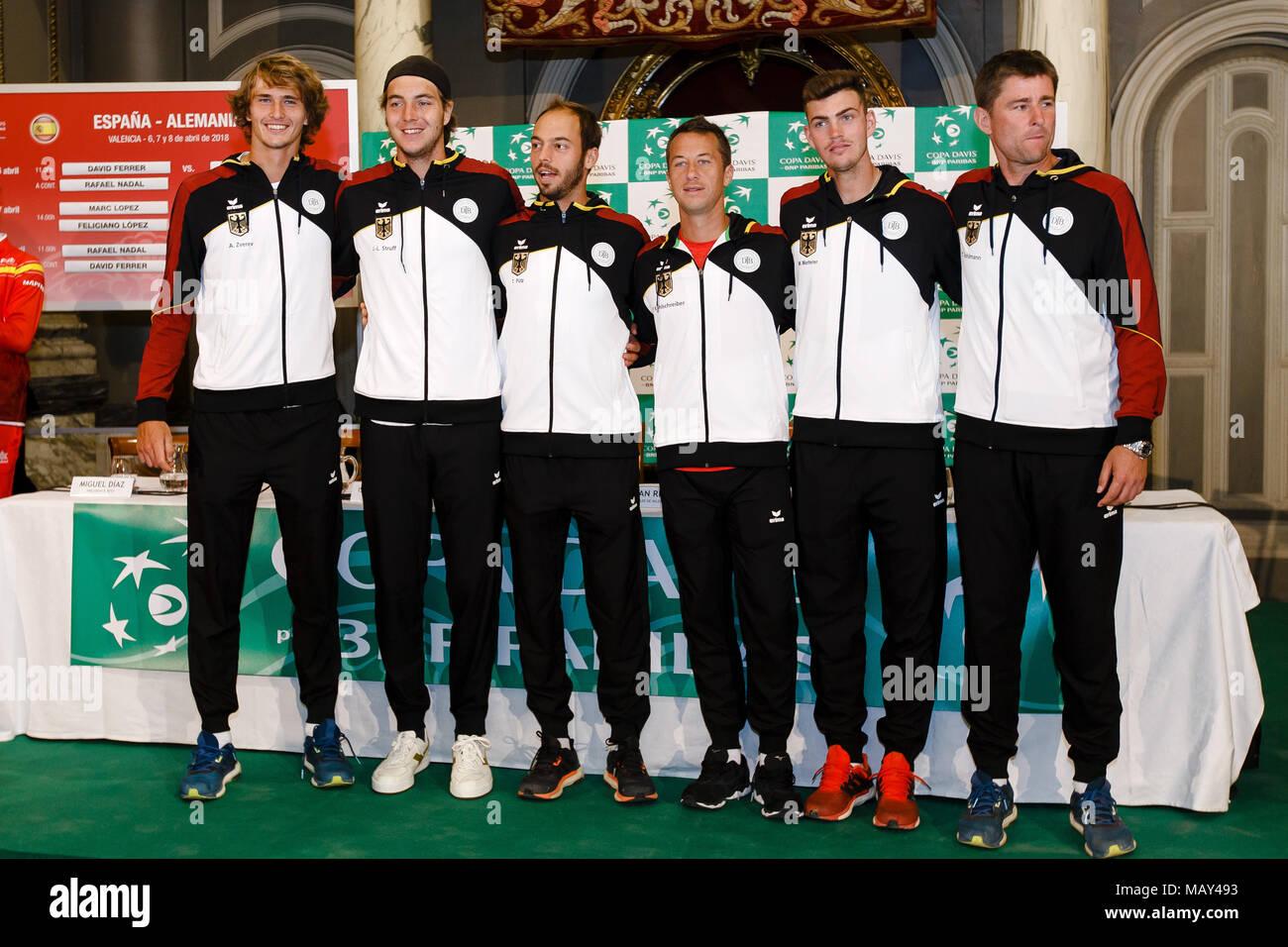 Valencia Spanien 5 April 2018 Das Deutsche Davis Cup Team Mit