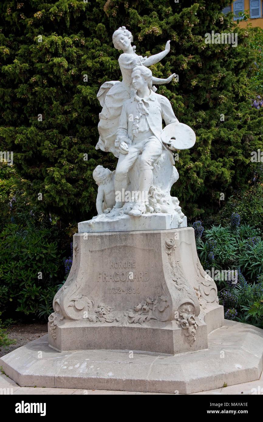 Denkmal zu Jean-Honore Fragonard, Altstadt von Grasse, Alpes-de-Haute-Provence, Südfrankreich, Frankreich, Europa Stockbild