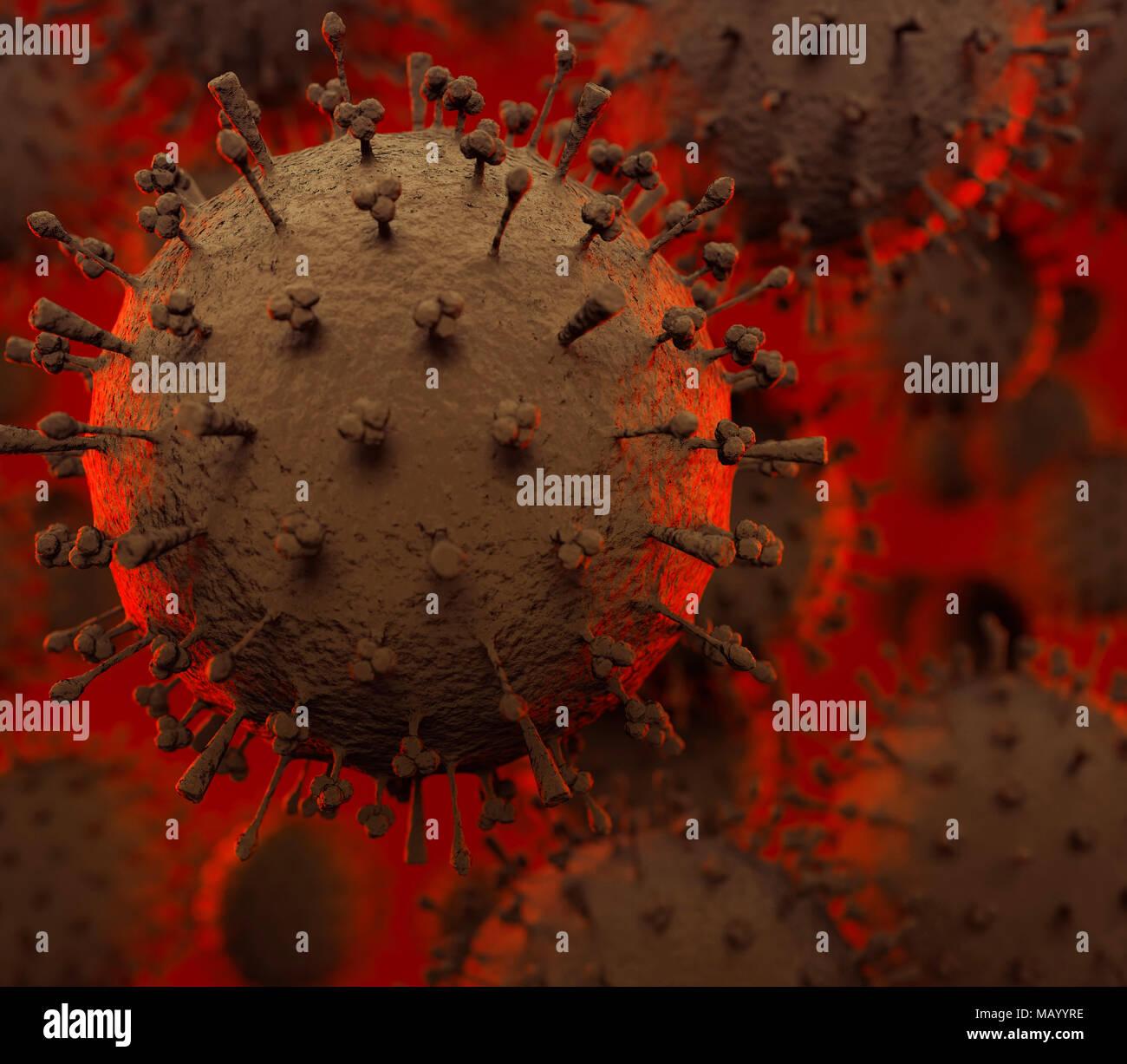 Vogelgrippe-virus H1N1, H5N1, Influenza-A-Virus Partikel, virionen unter einem Mikroskop. Medizinische 3D-Illustration von einem sich ausbreitenden Virus Stockbild