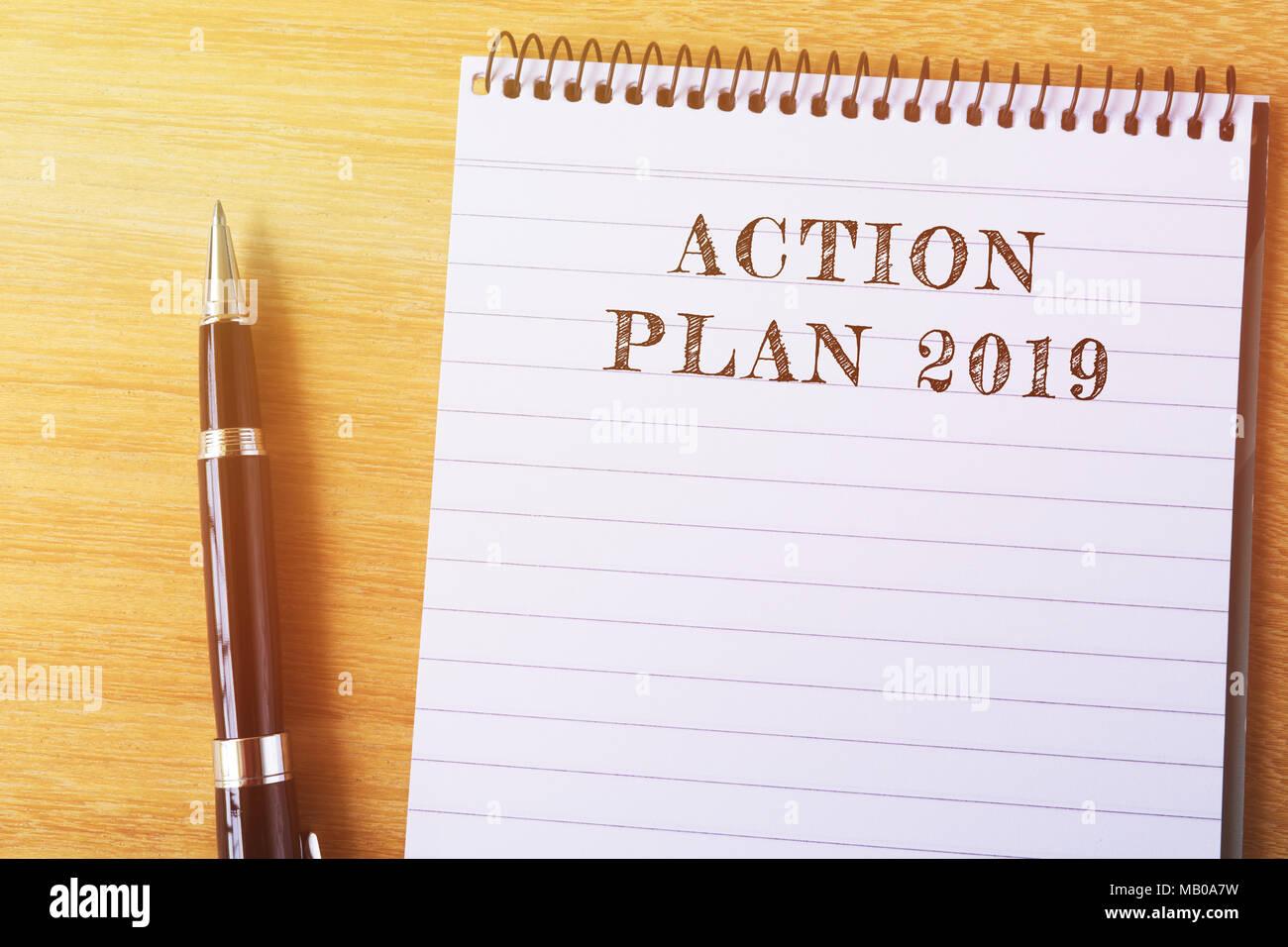 Aktionsplan 2019 Text in Notepad-Business Konzept Stockfoto, Bild ...