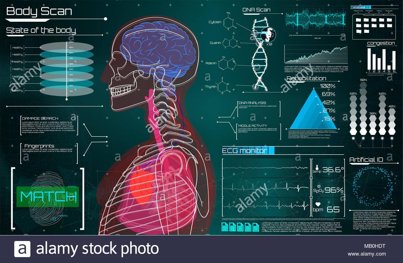 Moderne medizinische Untersuchung im Stil des HUD. Ultraschall und ...
