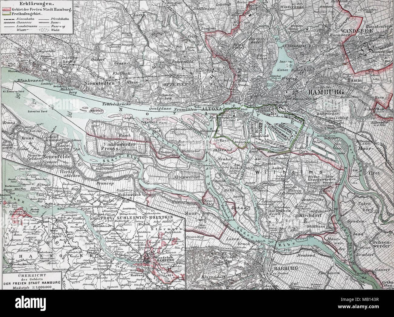 Stadtplan Von Hamburg Deutschland 1895 Stadt Karte Von Hamburg