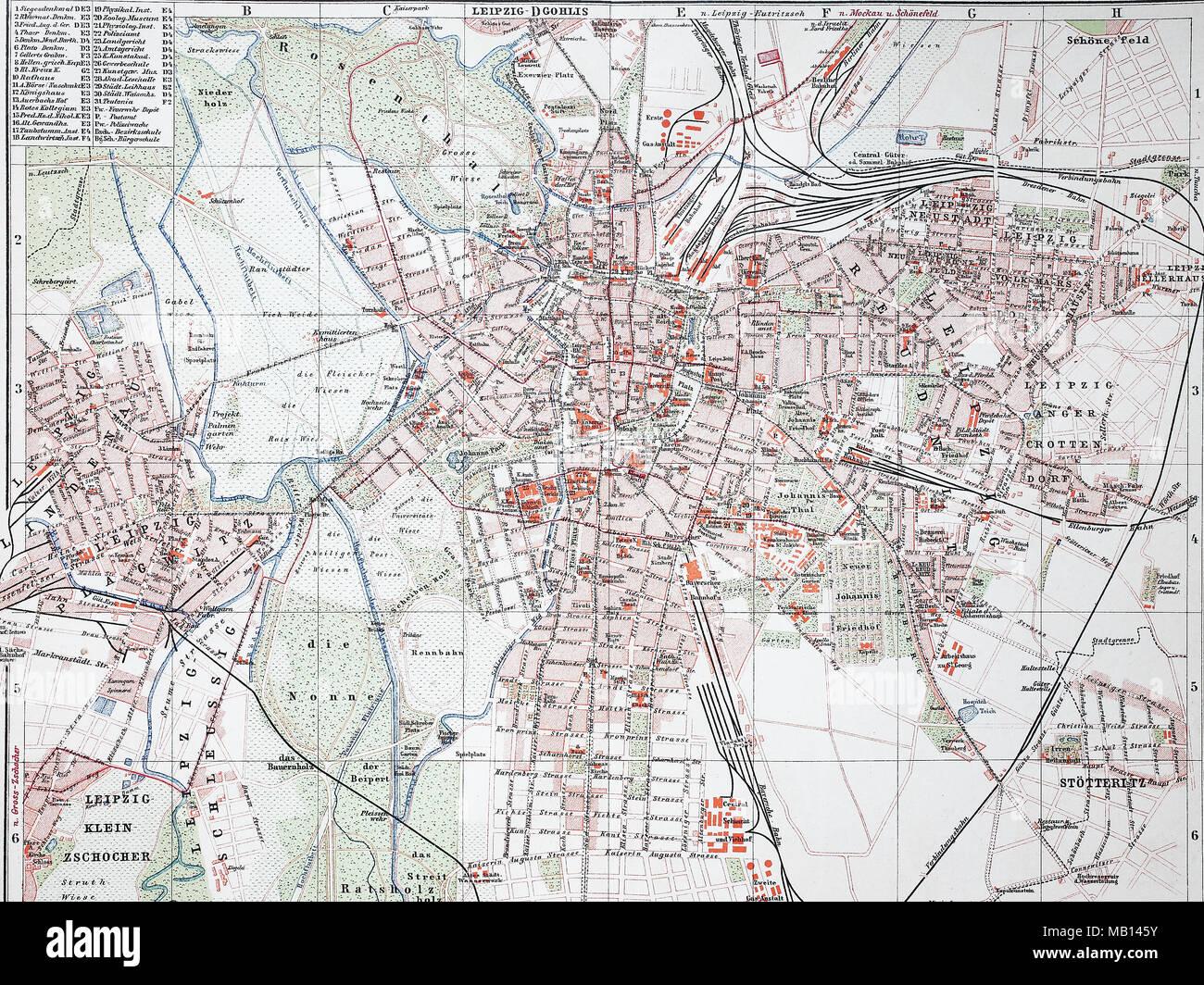 Stadtplan Von Leipzig Deutschland 1895 Stadt Karte Von Leipzig