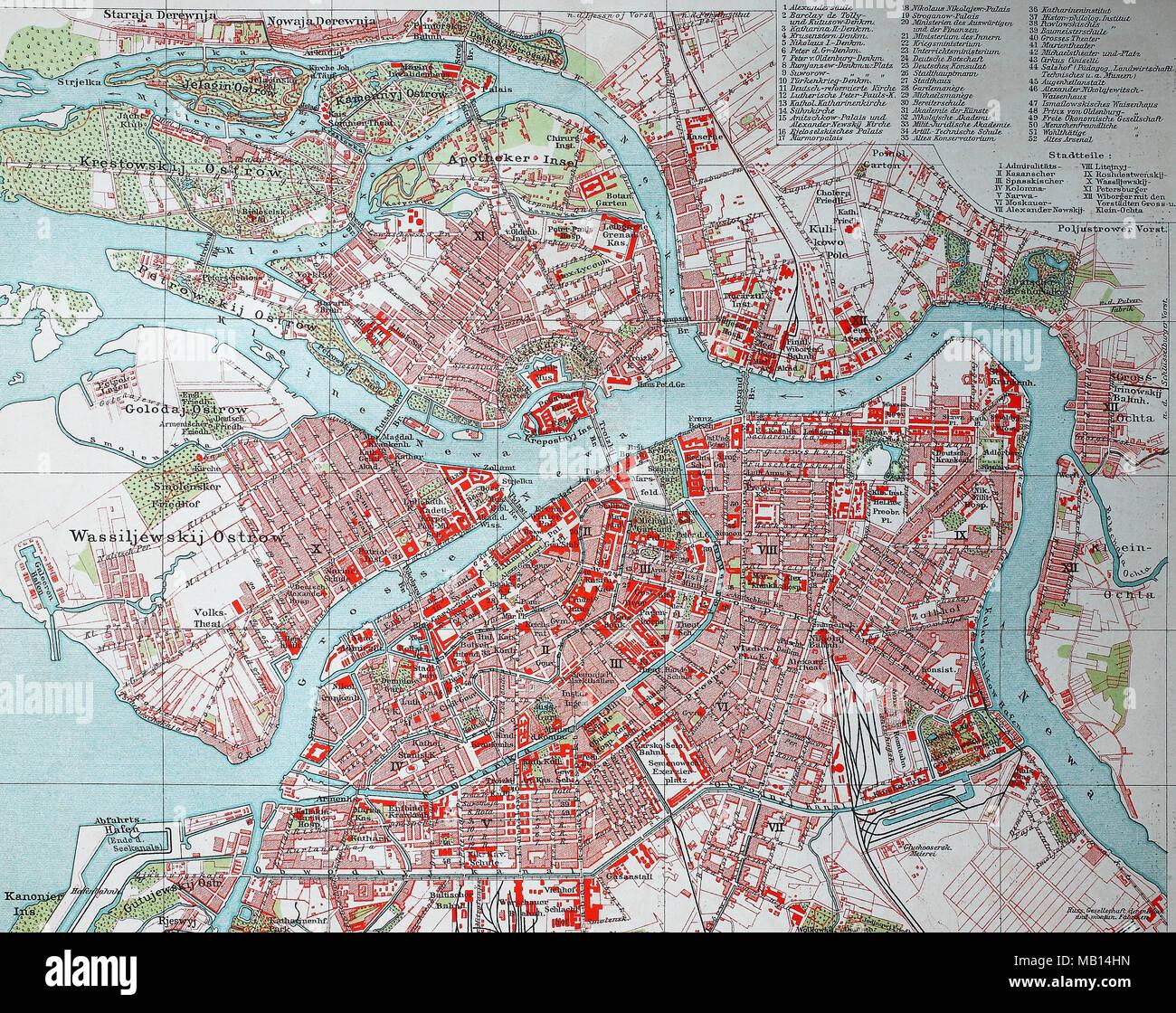 Stadtplan Von St Petersburg Russland 1895 Stadt Karte Von