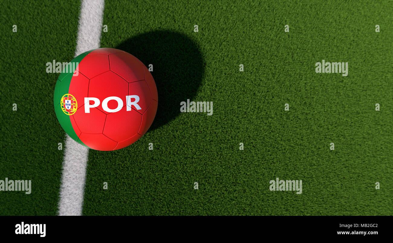 Fussball In Der Portugiesischen Nationalen Farben Auf Einem