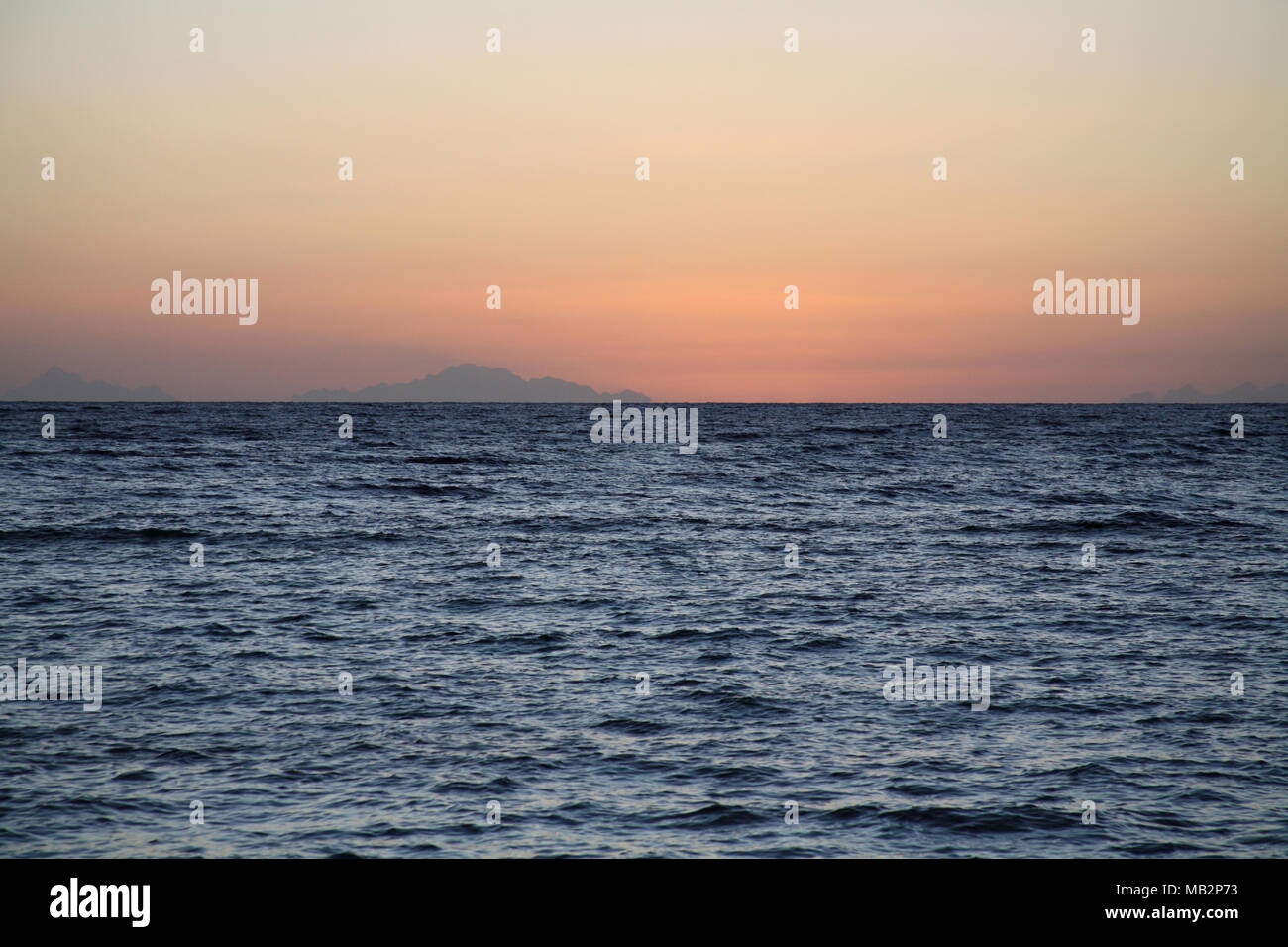 Sonnenaufgang, Meer, Insel Tiran, Ägypten, Afrika Stockbild