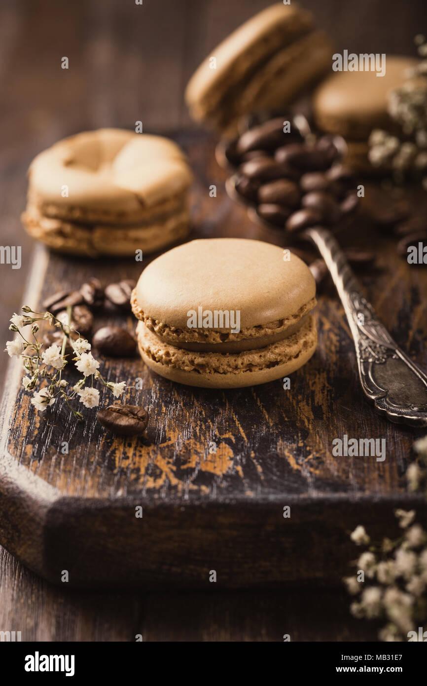 Kaffee macarons Stockbild