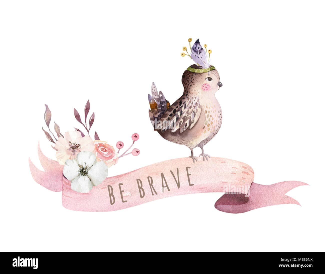 poster fur kinderzimmer, cute aquarell böhmischen baby vogel spatz tier poster für nursary, Design ideen