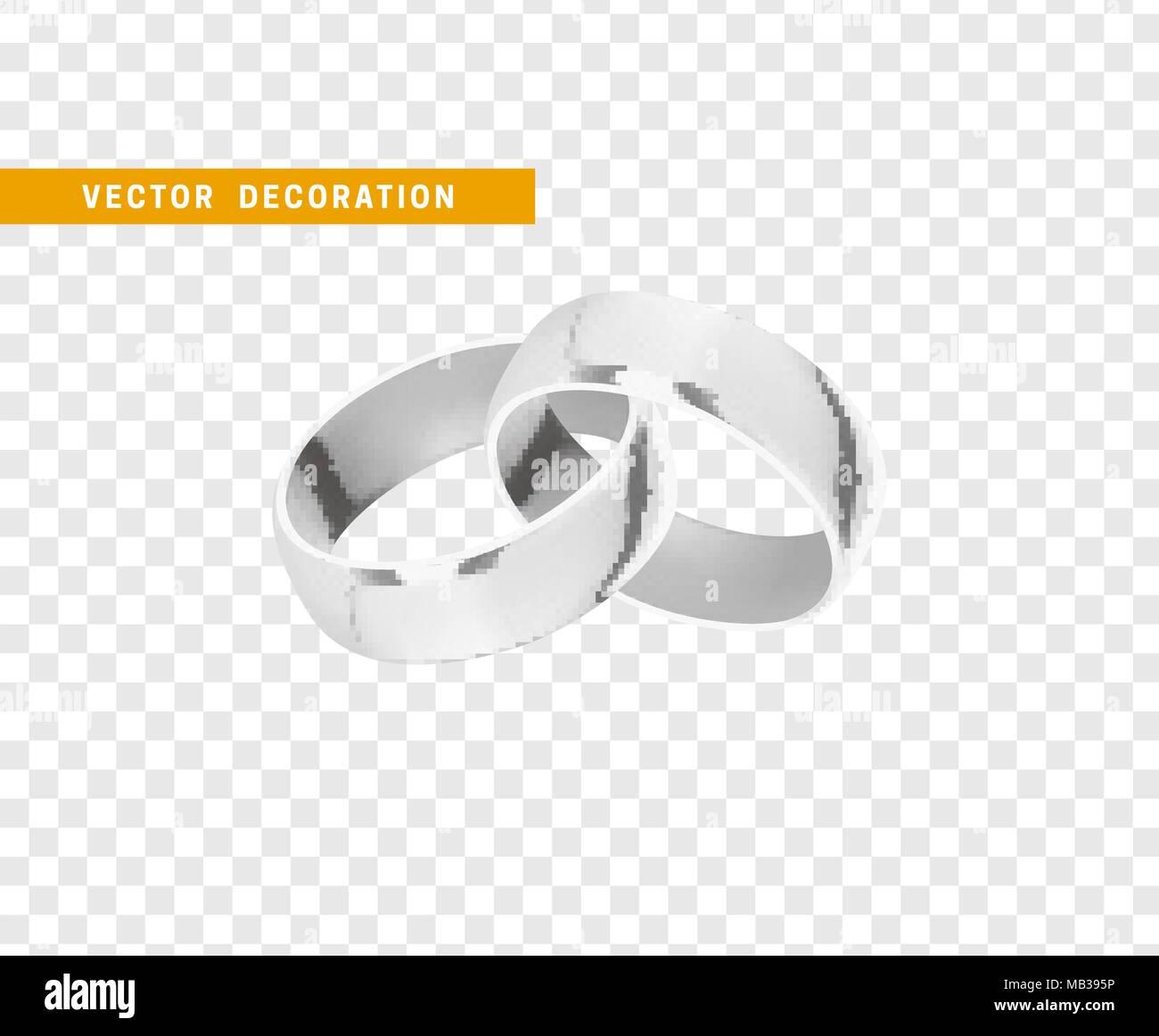 Silberne Hochzeit Ringe Realistischen Design Auf Transparentem