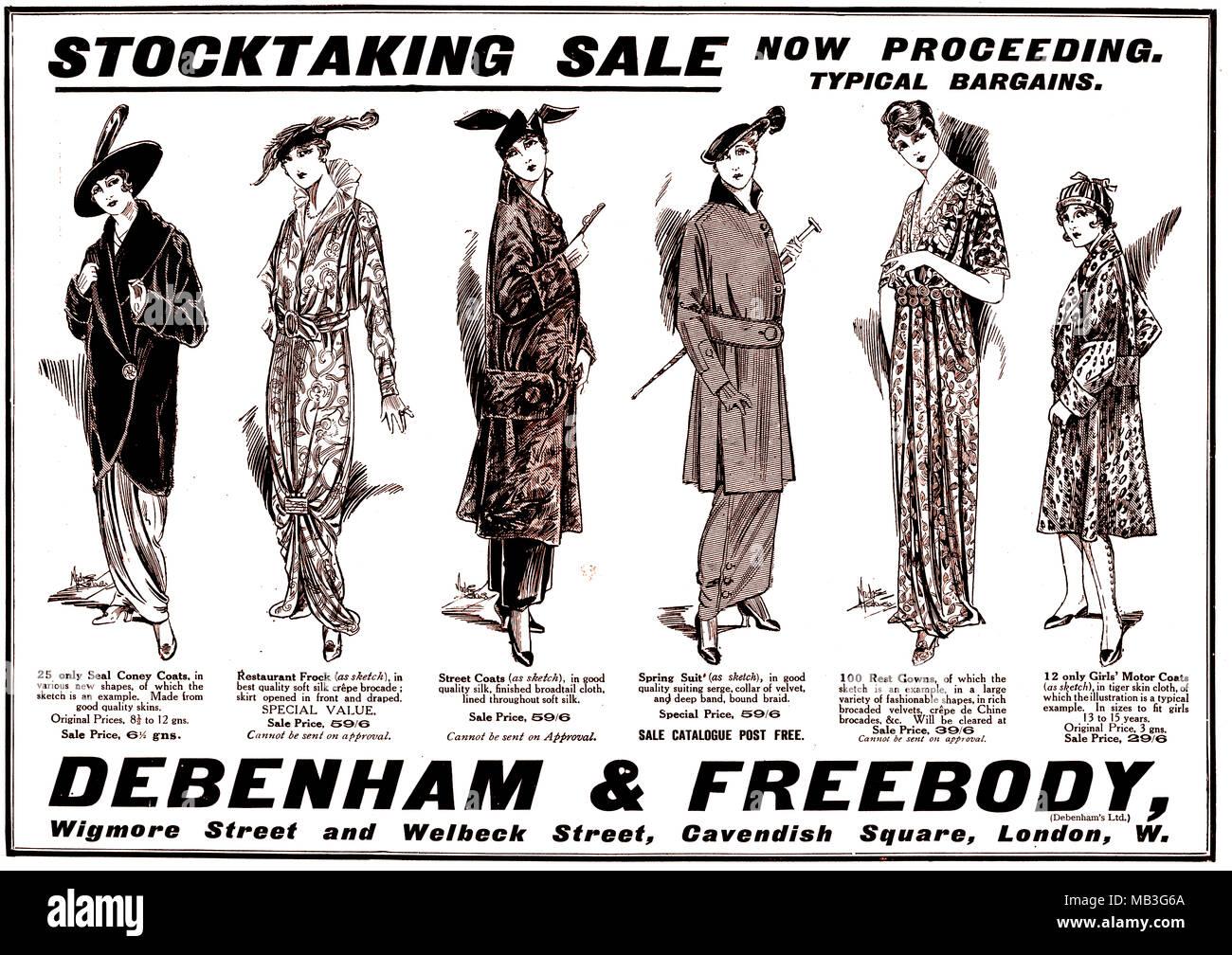 1915 Debenham Und Freebody Mode Kleidung Werbung Stockfoto Bild Free Body
