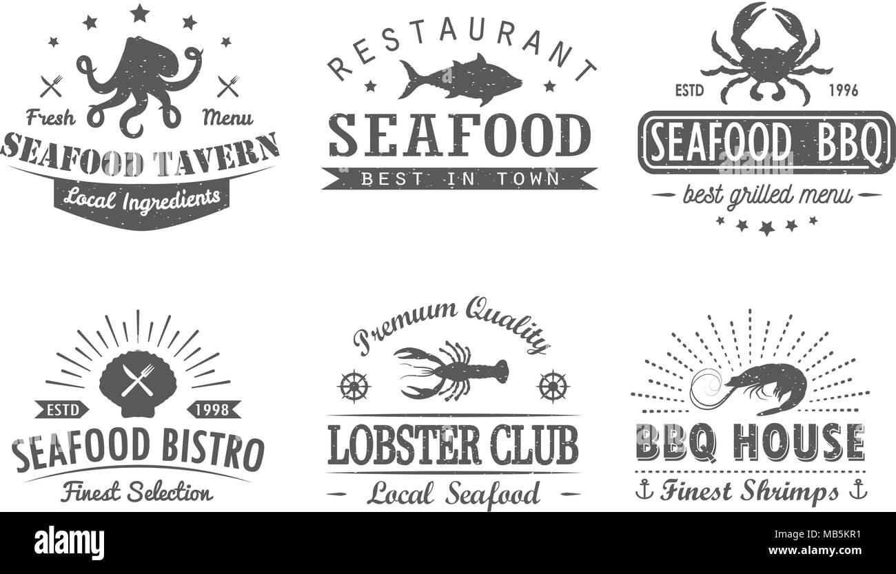 Satz von Vintage Meeresfrüchte, Grill, Grill logo Vorlagen ...