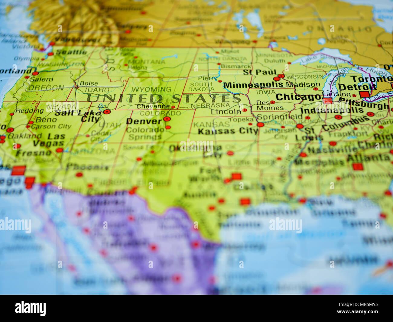 Amerika Karte Staaten.Die Vereinigten Staaten Von Amerika Auf Der Karte Stockfoto