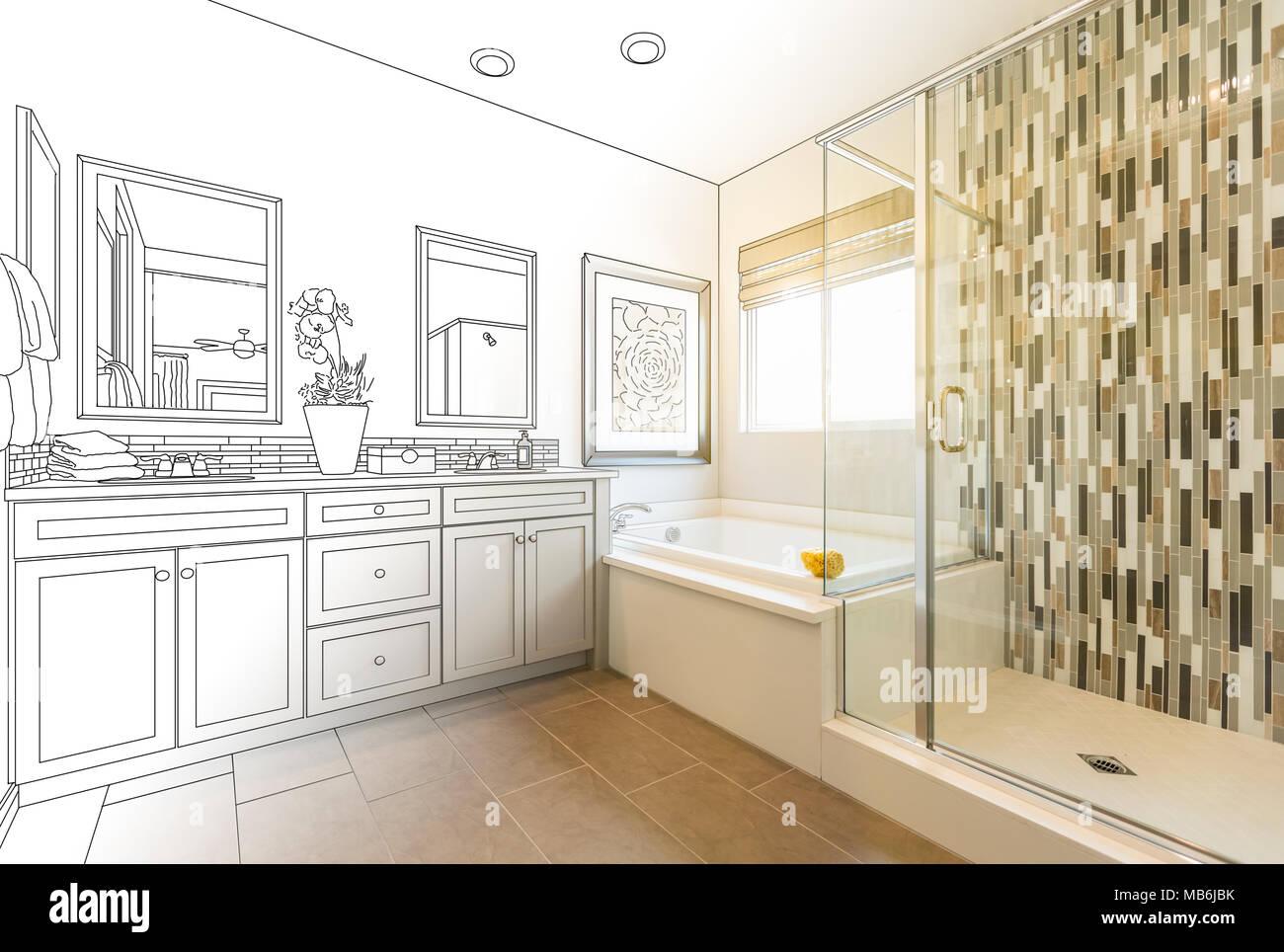 Elegant Benutzerdefinierte Master Badezimmer Design Zeichnung Gradating Bis Zum  Fertigen Foto.