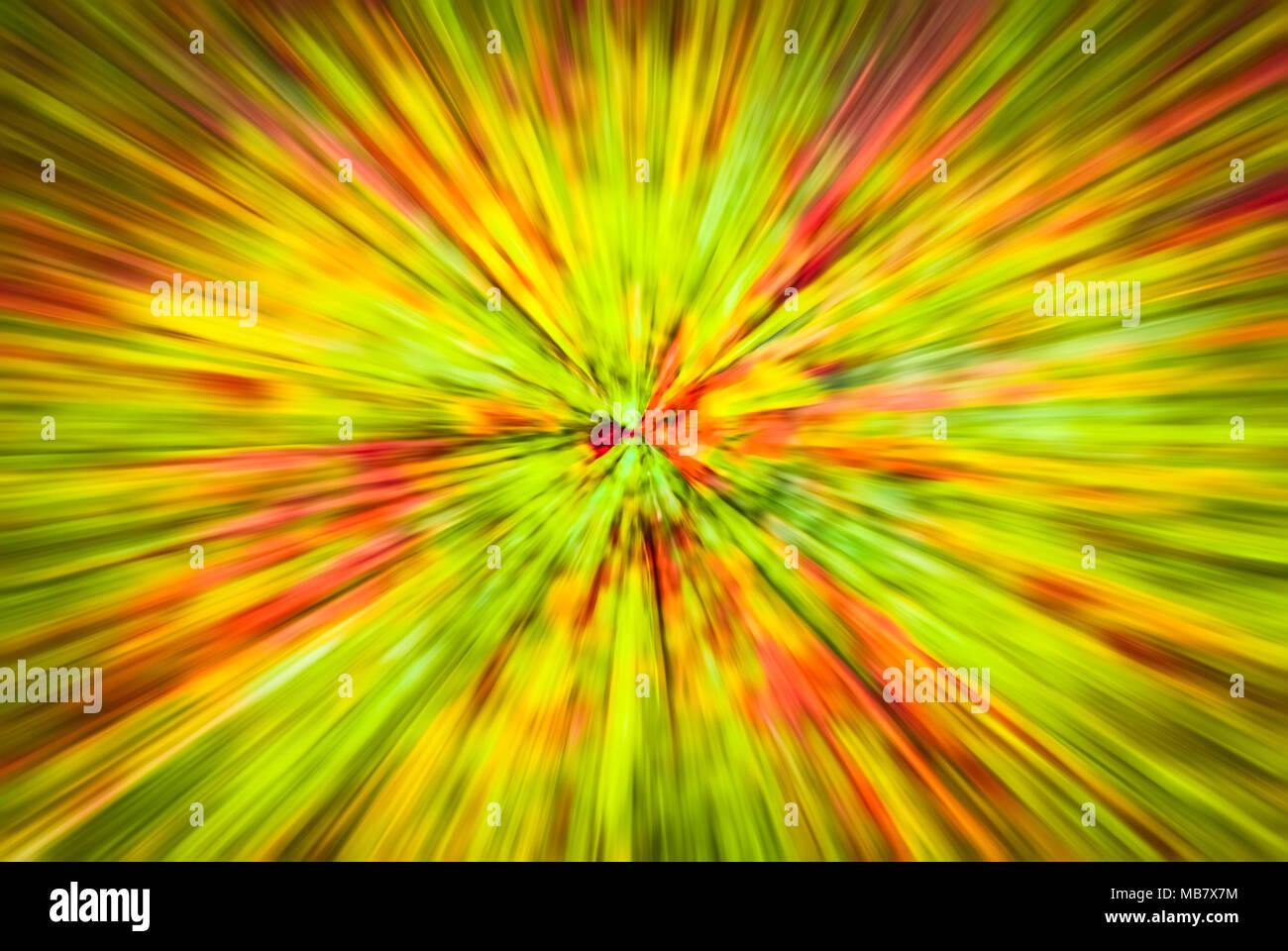 Psychedelisch hypnotischen unrealistisch Abstrakte Speedy Rosa Gier Hintergrund, motion blur Effekt, zoom Bewegungsunschärfe. Stockbild