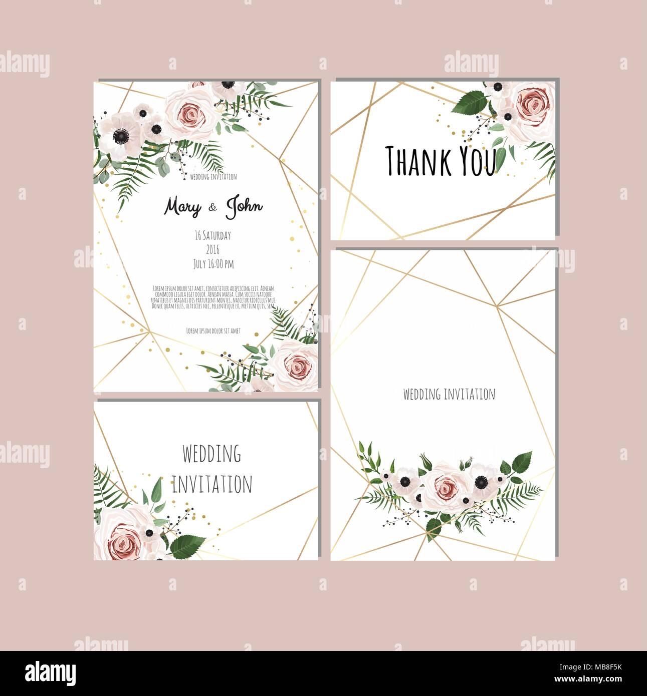 Hochzeit Set Mit Einladungen Vektor Einrichten Von Vintage Floral