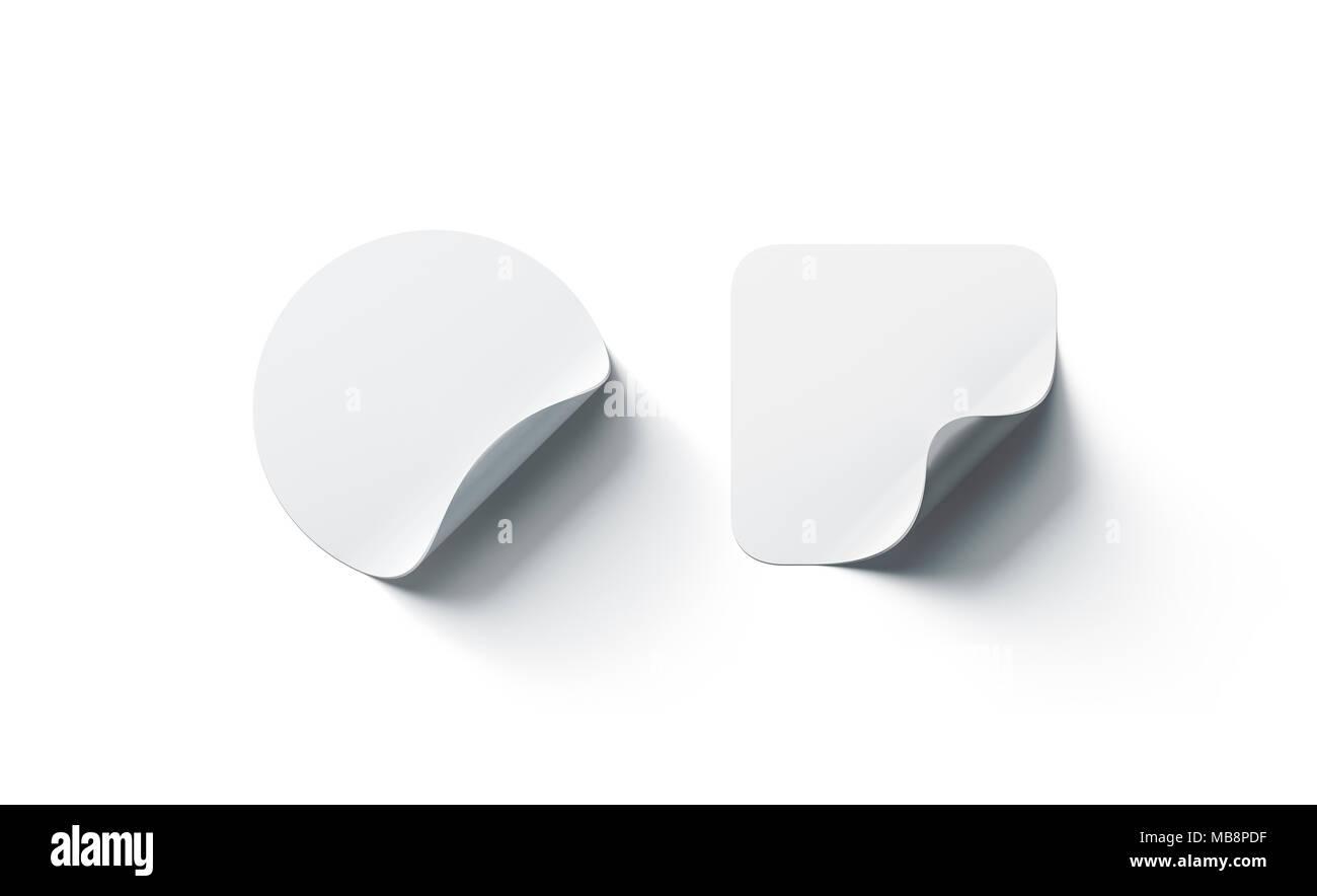 Leere weiße runde und quadratische Aufkleber mock up mit gebogenen ...
