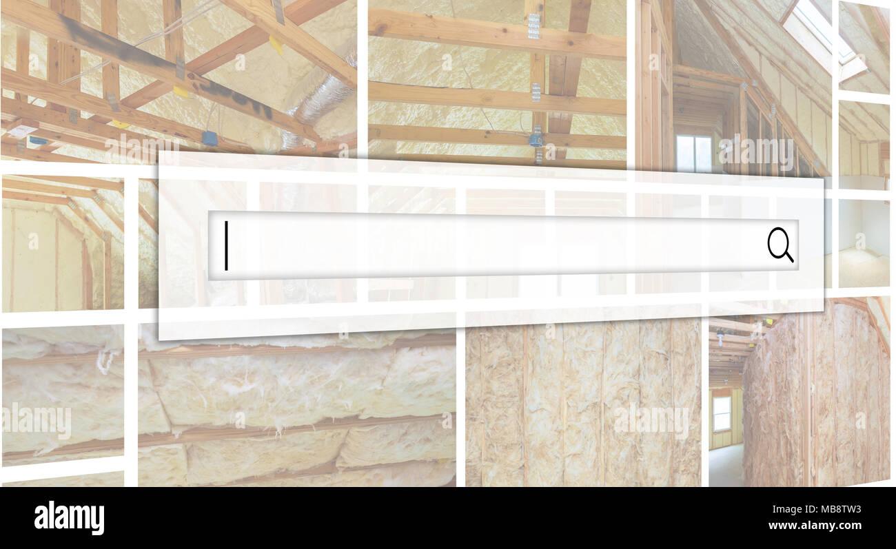 Innenwand Wärme Isolierung Mit Mineralwolle In Holz  Haus, Gebäude Im Bau  Foto Collage Das