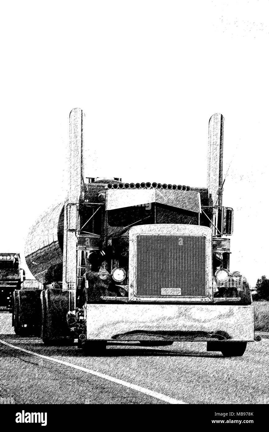 American Classic semi Tanker auf der Straße, Zeichnung Stockfoto ...