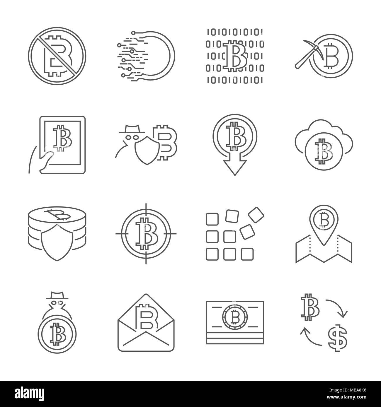 Blockchain Cryptocurrency Symbole. Moderne Computer Netzwerk Technologie Zeichen gesetzt. Digitale grafische Symbol Collection. Bitcoin Bergbau. Konzept Design Elemente. Stock Vektor