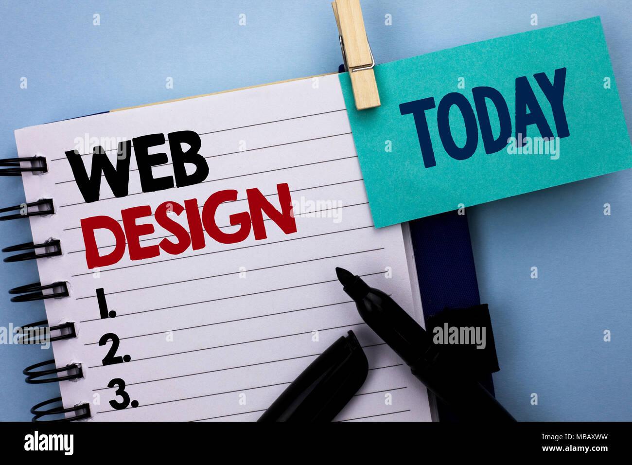 Konzeptionelle Hand Schreiben Web Design Business Foto Text Web
