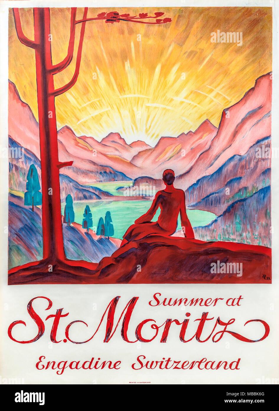 Original Schweizer Vintage Travel Poster illustriert von Hugo Laubi 1929, Schweiz, St. Moritz, wie Sommer Reiseziel zu fördern. Stockfoto