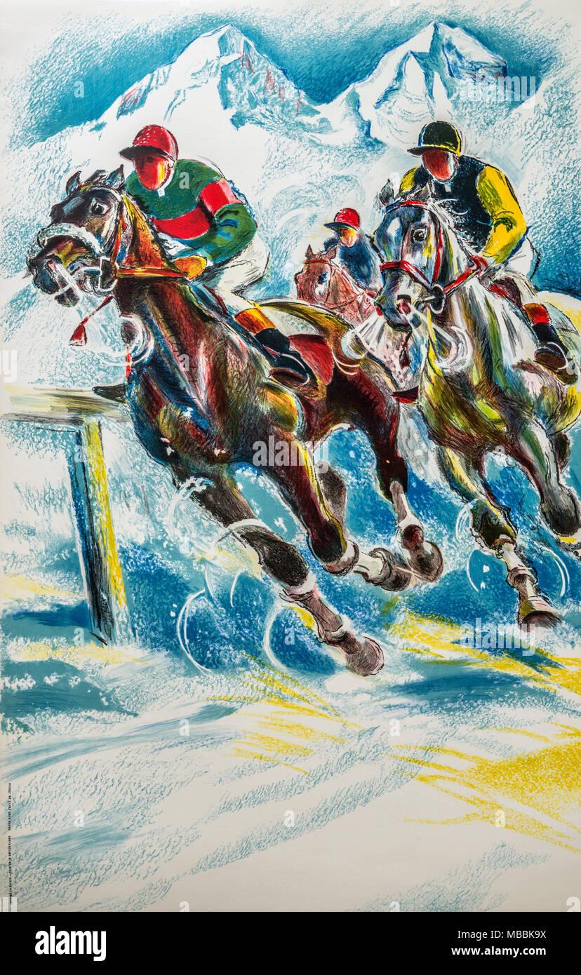 Original Schweizer Vintage Travel Poster illustriert von Hugo Laubi 1955, der Schweiz, den White Turf Pferderennen auf dem St. Moritzersee zu fördern. Stockfoto