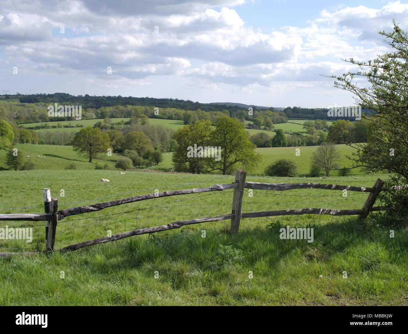 Frühling Landschaft Foto auf die hügelige Landschaft von Sussex außerhalb von Tunbridge Wells im Eridge. Stockbild