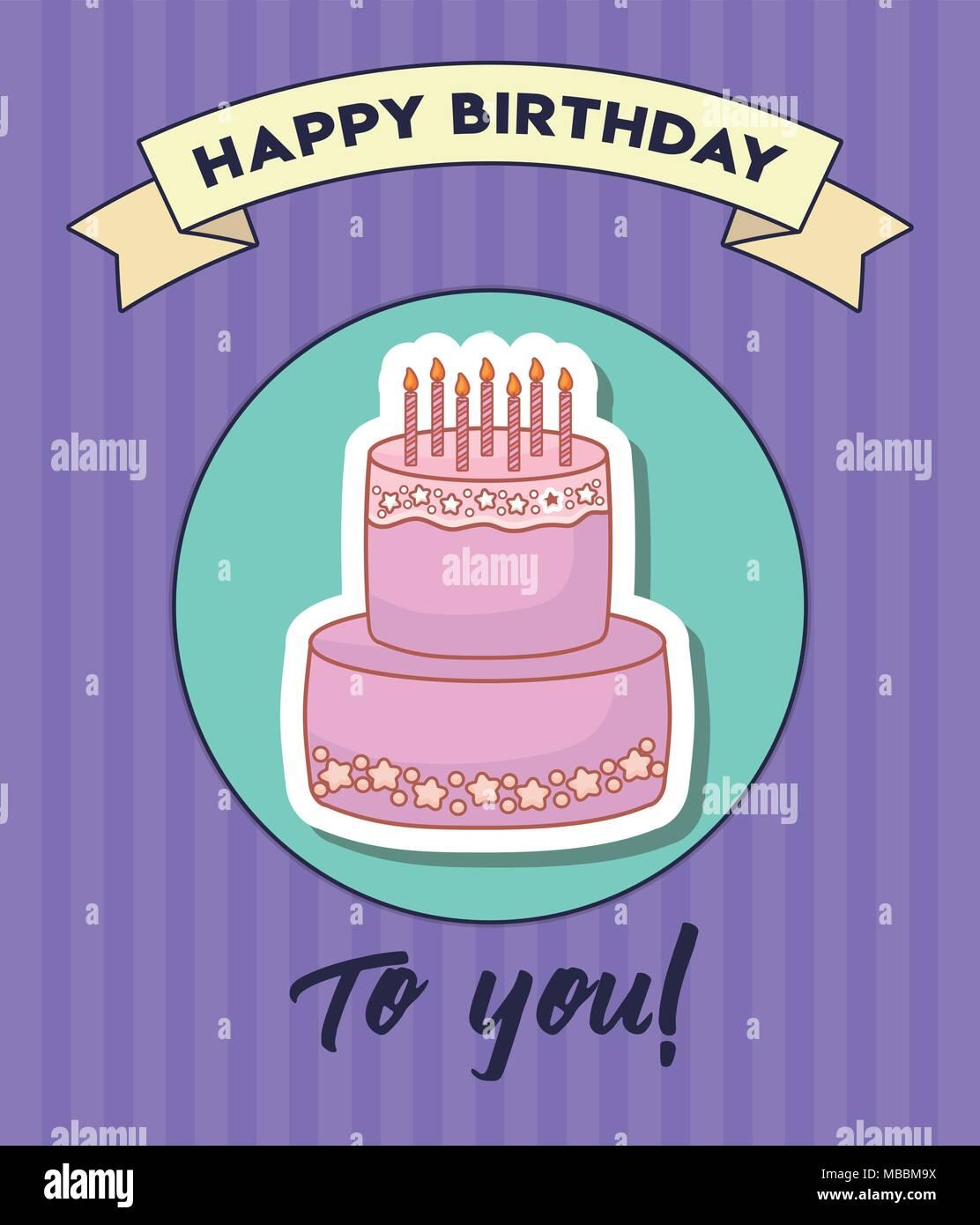 Happy birthday Design mit Geburtstag Kuchen mit Kerzen Symbol über ...