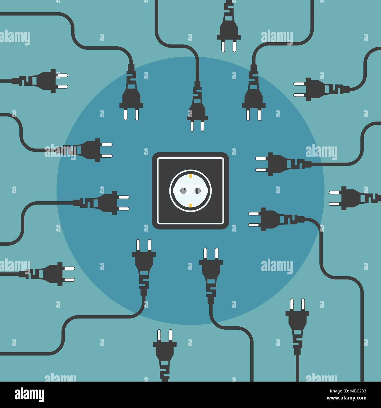 Stecker suchen. Freie Elektrizität flache Design Konzept. Vector Illustration. Stockbild