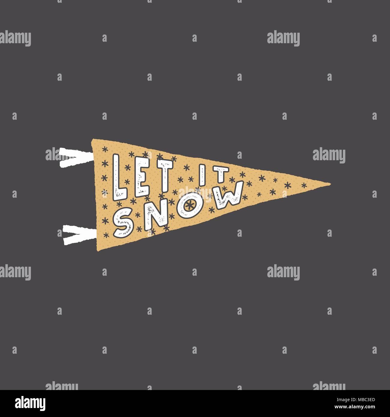 Winter Thema Wimpel Lassen Sie Es Schneien Typografie Zitat
