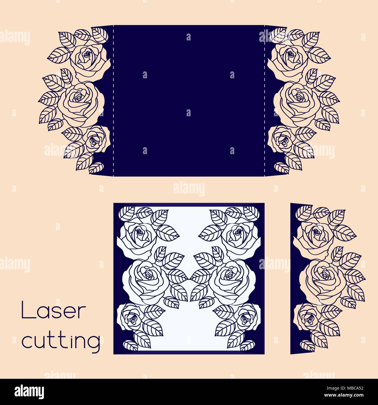 Hochzeit Einladung Umschlag mit Rosen für Laserschneiden. Vorlage ...