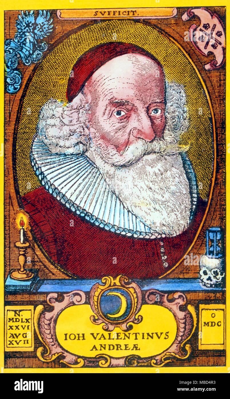 """Alchemie -- VALENTIN ANDREA. Johann Valentin Andrea (1586-1654), Autor von """"The Chemical Wedding"""", ein Rosenkreuzer Text über alchemistische Symbole Stockbild"""