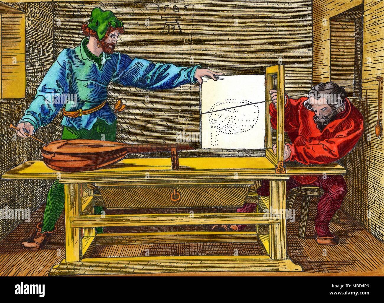 Esoterische KUNST - DURER Zeichnung, mit zwei Künstler Bau auf einem Blatt das Bild einer Laute, in der Perspektive. Hand - farbige Holzschnitt von 1525, die von Albrecht Dürer. Stockbild