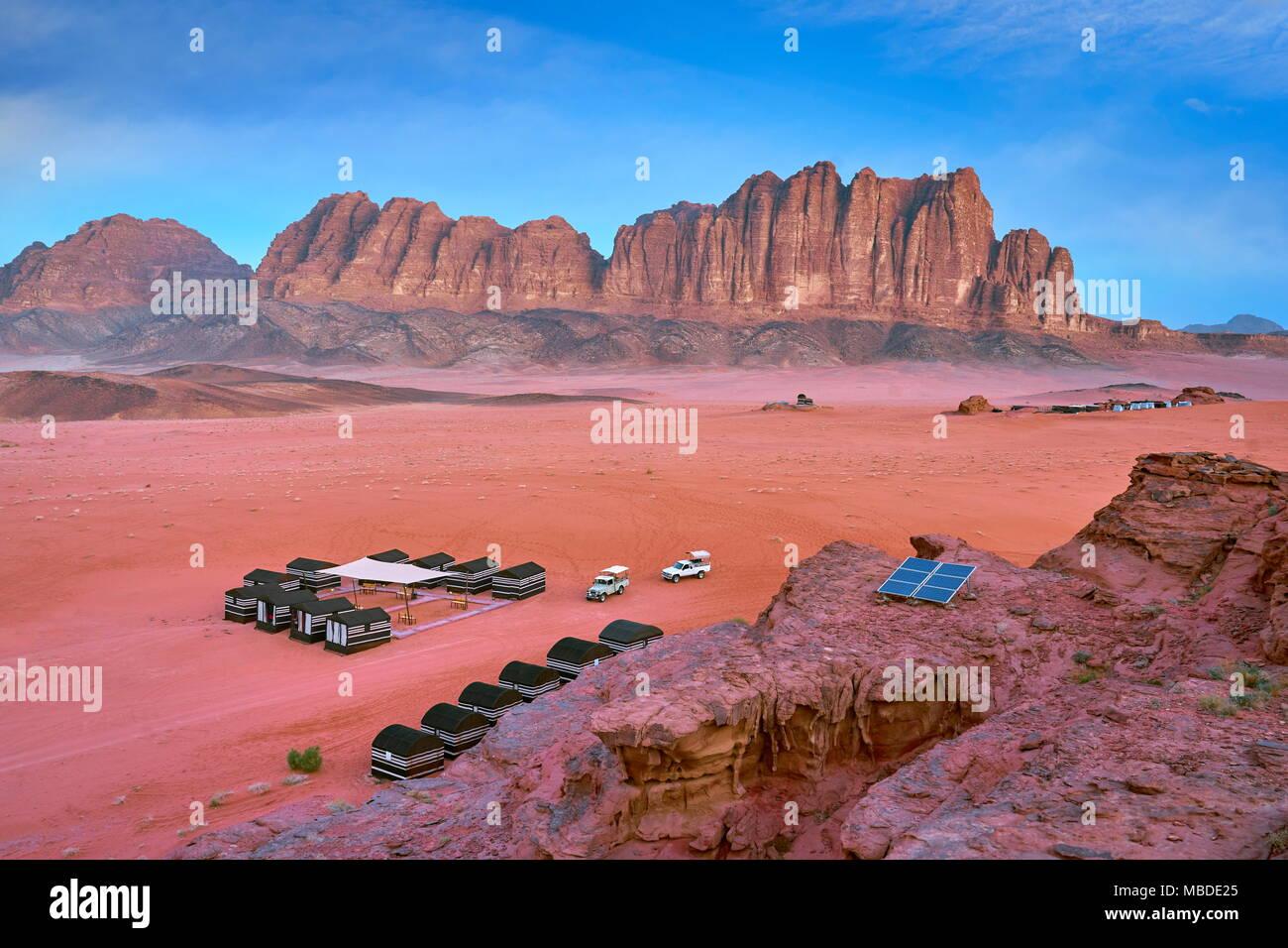 Beduinen Camp, Wadi Rum Wüste, Jordanien Stockbild