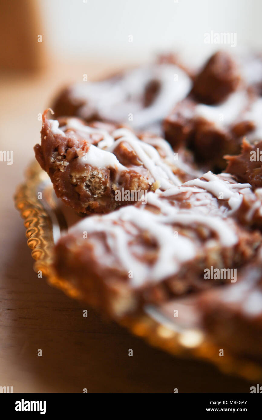Mamas gooey Chocolate oat Bars. Stockbild