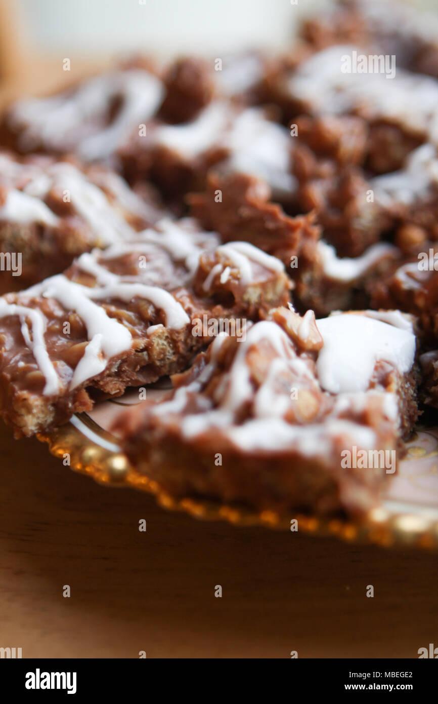 Mamas gooey Chocolate oat Bars. Stockbild