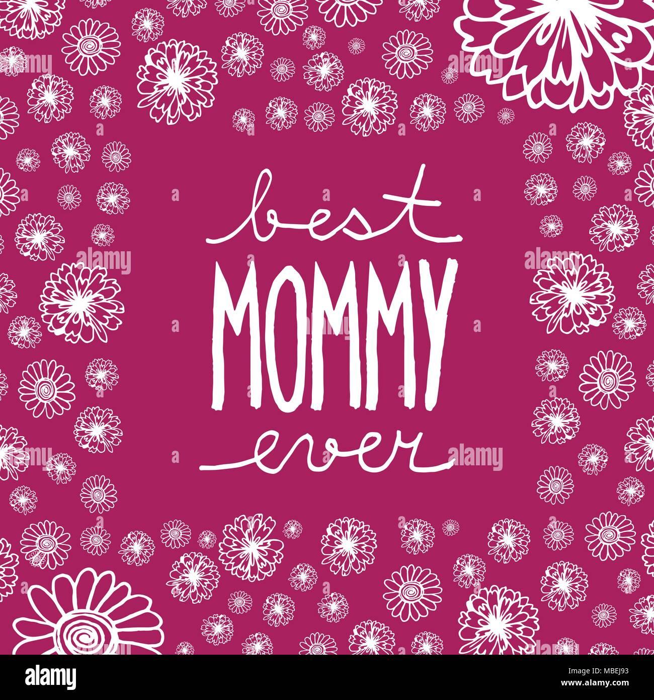Doodle Grußkarte zum Muttertag mit handschriftlichen Text beste Mama ...
