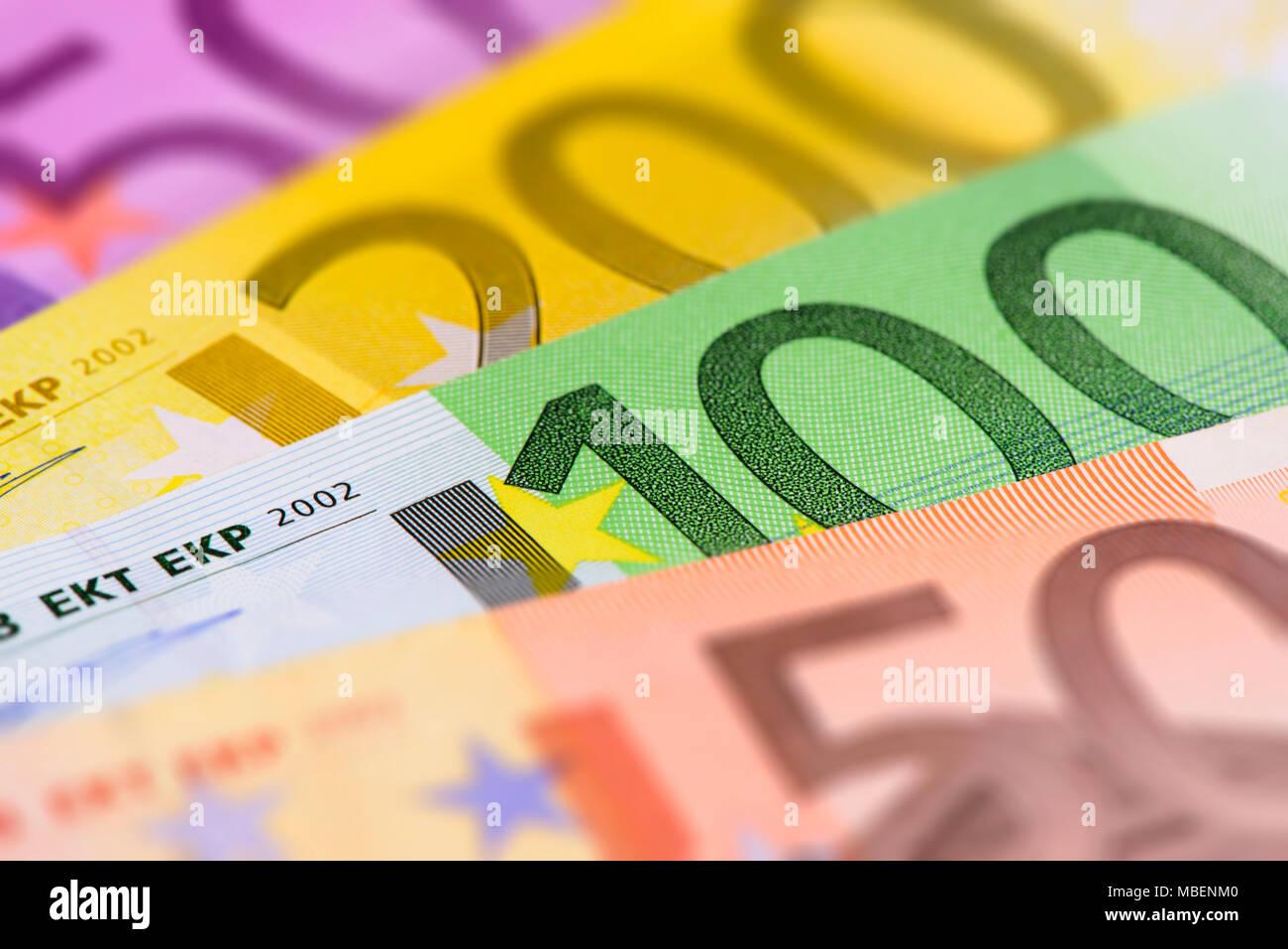 Viele Banknoten der Europäischen Währung Stockbild