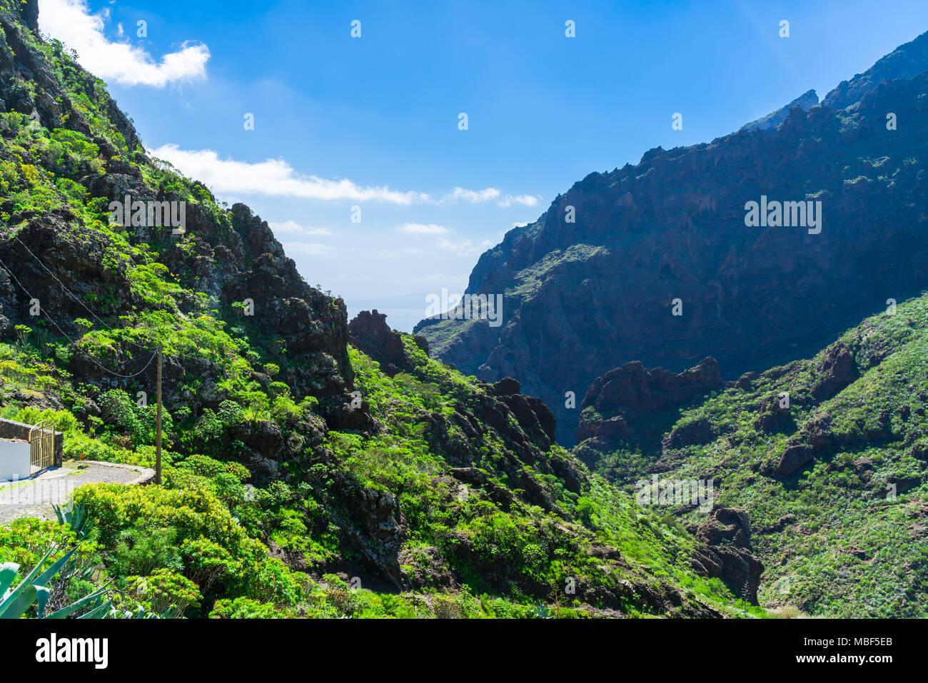 Blick auf den Berg Macizo de Teno Gebirge in Teneriffa, Kanarische Inseln Stockbild