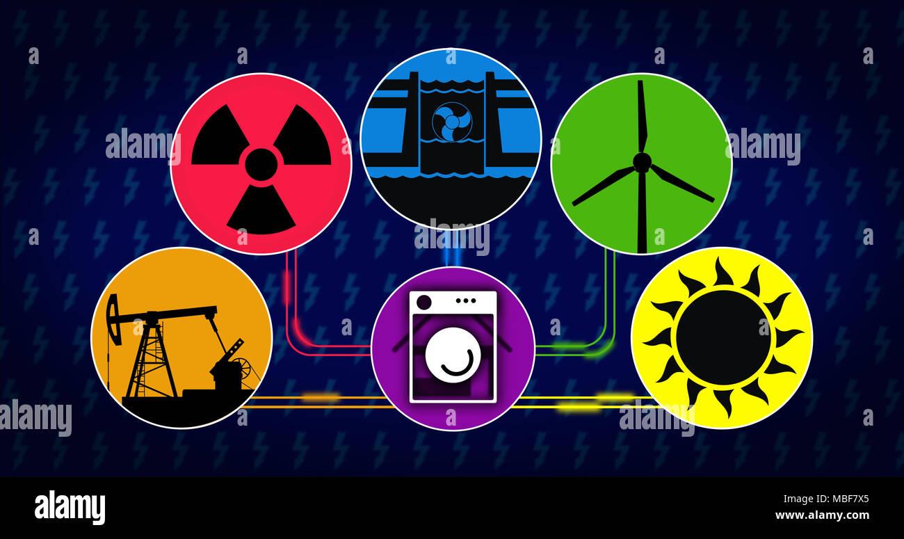 Stromerzeugung und Stromverbrauch Konzept. Symbole der Energiequelle mit Symbol für Solar-, Wind-, Wasserkraft, Kernkraft und fossilen Brennstoffen tech Stockbild