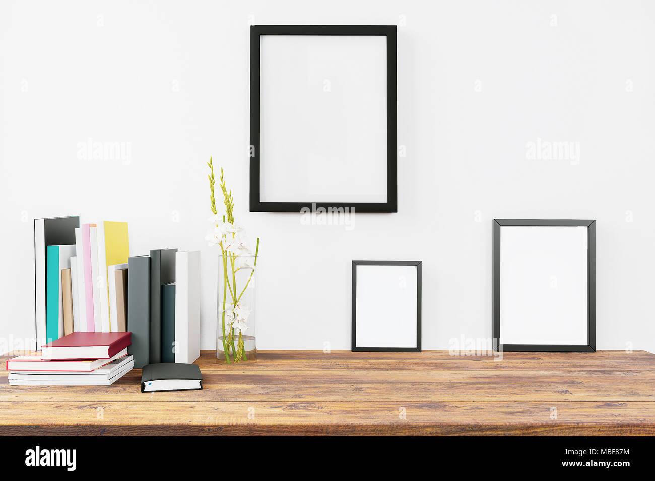 Moderne Wohnkultur Tisch mit leeren Malerei frames Mock up Design ...