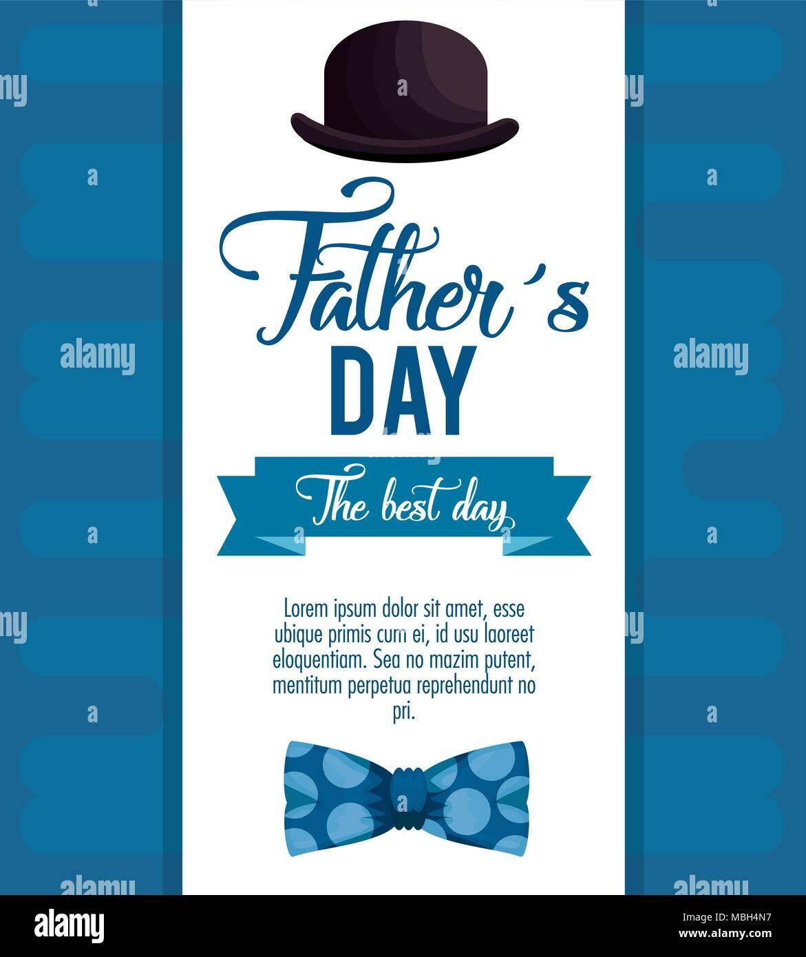Happy Vatertag Karte Mit Kalligraphie Und Zubehör Vektor Abbildung